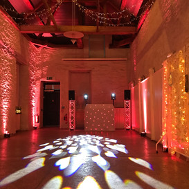 Silver dj show with mood lighting at hestercombe gardens