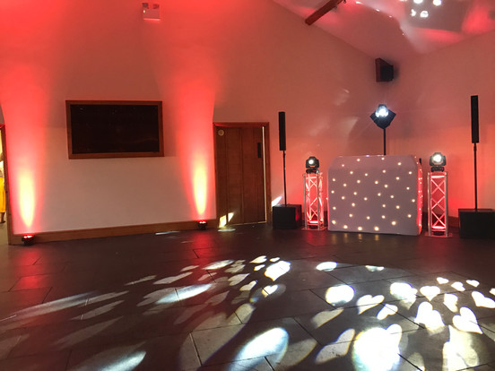 Gold dj show ready for wedding at quantock lakes