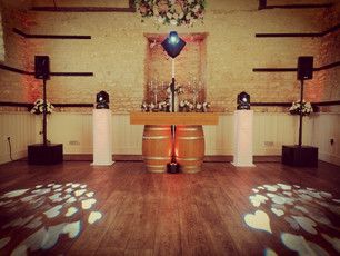 Gold rustic dj booth show at the stunning @ wick farm in bath