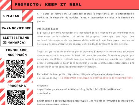 Próxima movilidad Proyecto KEEP IT REAL. Consulta info.