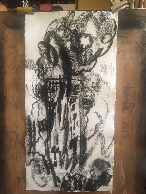 very thin long - Charcoal drawing on han