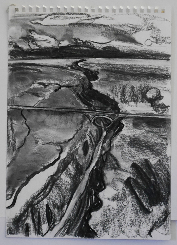 A3 - Charcoal on paper - Titled  'Rio Gr