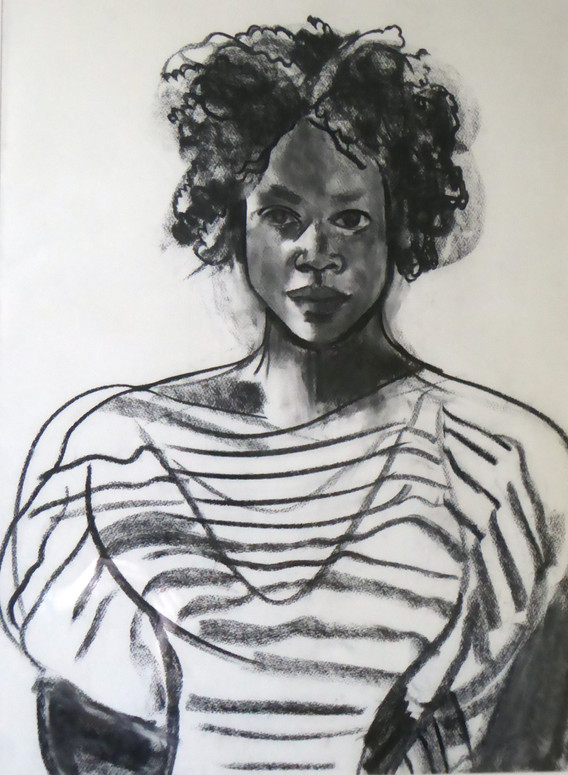 A1 - Charcoal on paper - Titled 'Melanie