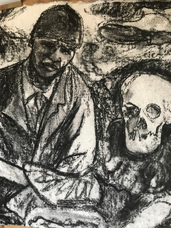 Black Soldier in the American Civil War with Skull