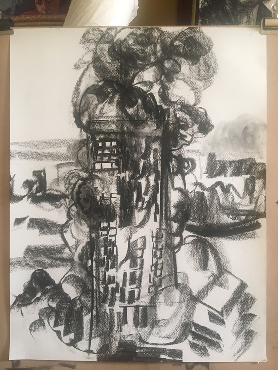 A1 - Charcoal drawing on paper - 'Grenfe