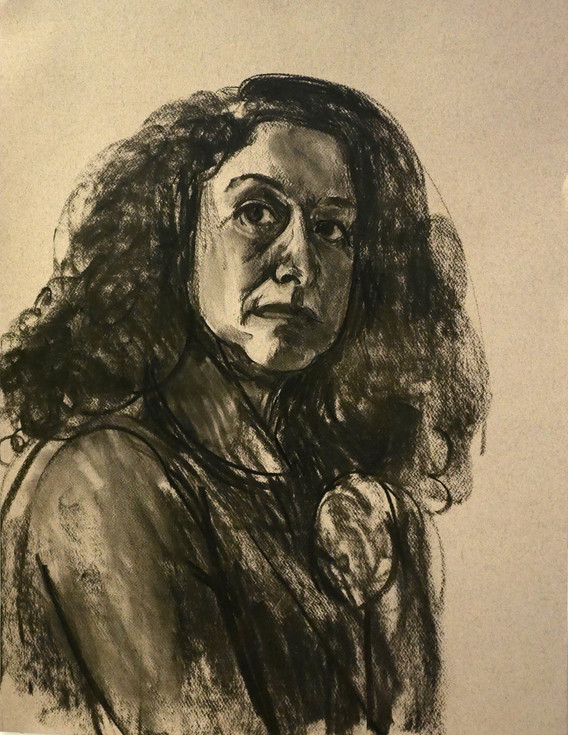 A1 - Charcoal on paper - Titled 'Self po