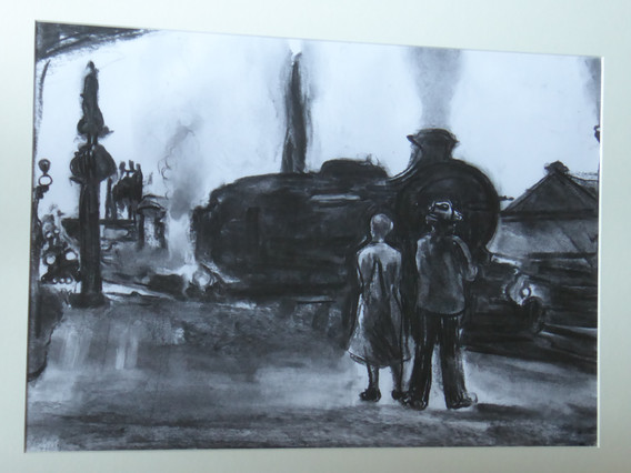 A3 - Charcoal on paper - Titled 'Train w