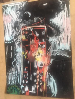 Greenfell Tower Fire Pastel 3