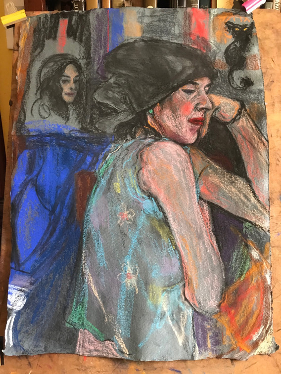 A1 - Pastel and Charcoal on handmade pap