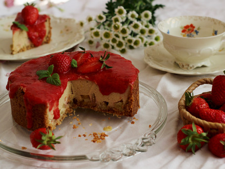 Erdbeer-Rhabarber Käsekuchen