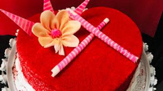Red Velvet Heart Shape cake 1 kg
