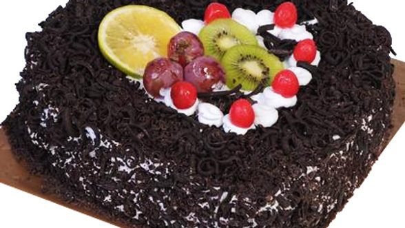 Black Forest Heart shape cake with Fruit topping