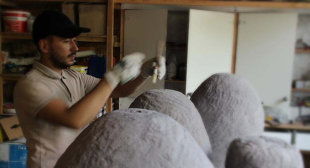 Люстры с плафоном из бетона купить в Киеве