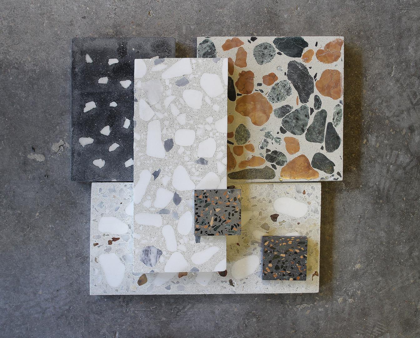 Разные образцы бетона терраццо