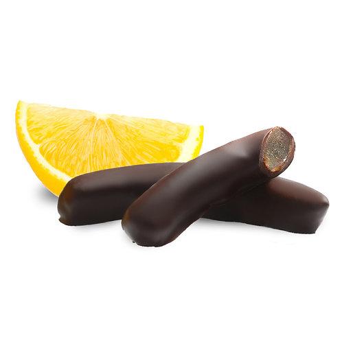 Scorze di limone ricoperte di cioccolato fondente al 64%