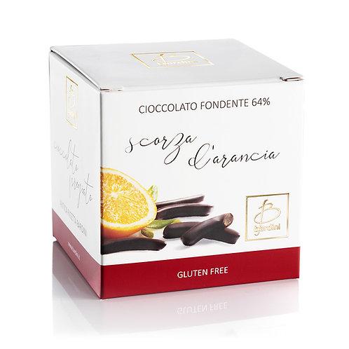 Scorze d'arancia ricoperte di cioccolato fondente al 64%