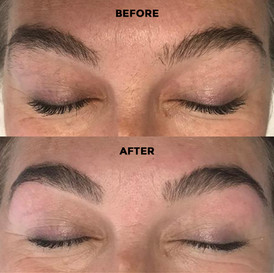 This is Nickie's brows Before and After a session with Andrea.