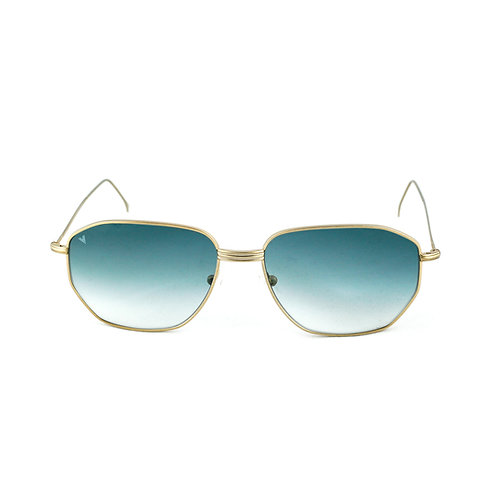 Jimmy C03 Satin shiny gold - Aquamarine degrade lens