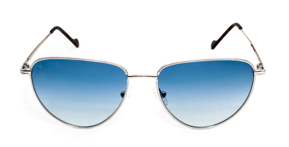 Jorie C02 Shiny Silver and Dark Avana - Blue Degrade Lens