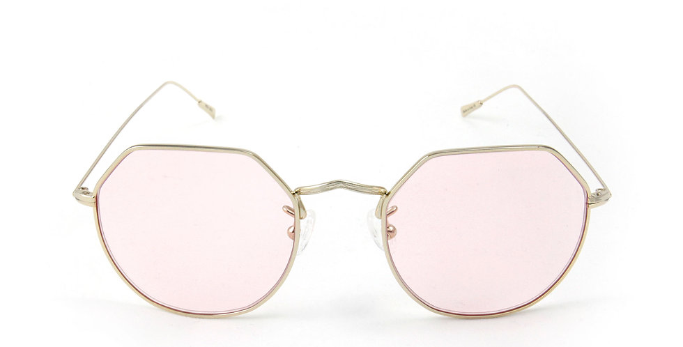 Greg C03 Shiny Gold - Pink pastel lens