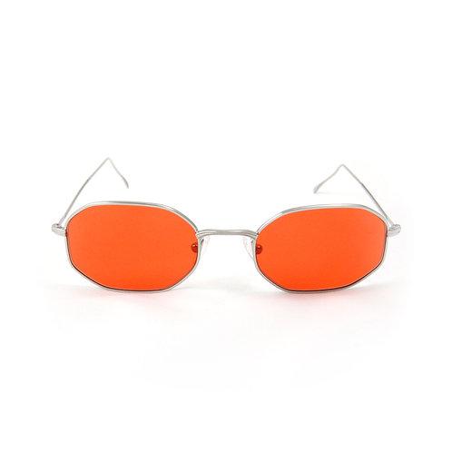 Tony C02 Shiny silver - Red pastel lens