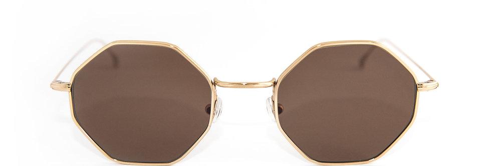 Paul C03 Shiny gold - Brown flat lens