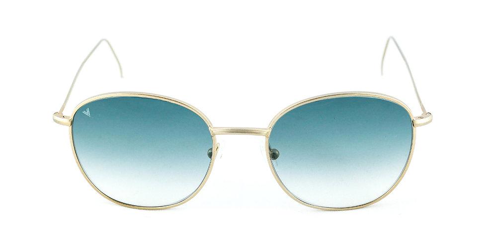 Maverick C03 Satin shiny gold - Aquamarine degrade lens