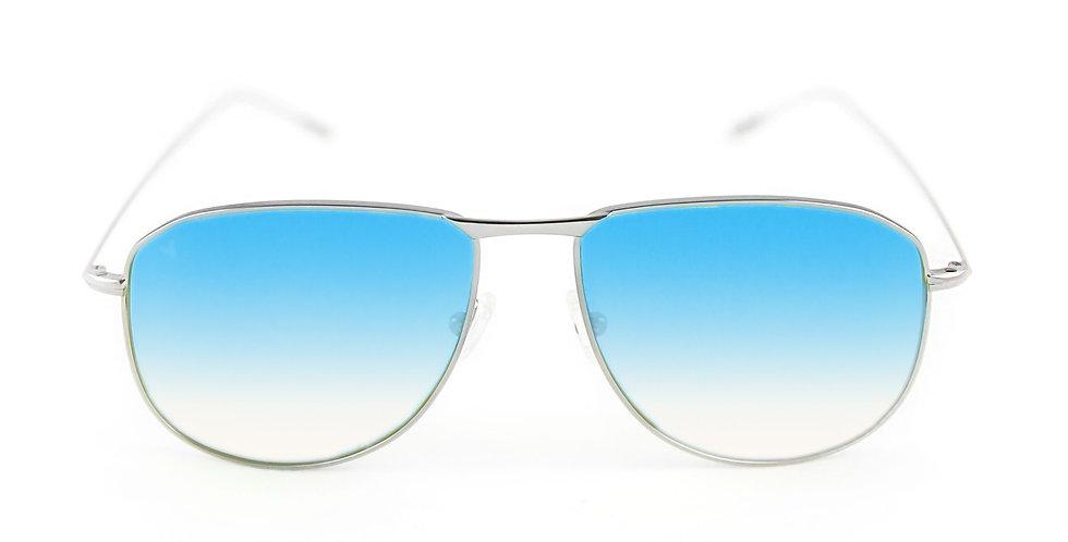 Tyler C02 Shiny silver - Azure degrade lens