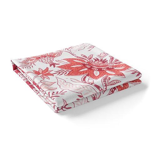 Block Printed Tablecloth 'Bossanova' Red *Rectangle