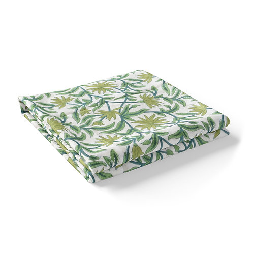 Hand Block Printed - Floral Green Tablecloth *Rectangle