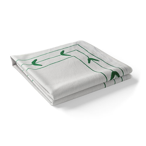 Embroidered Cotton Tablecloth - Green.