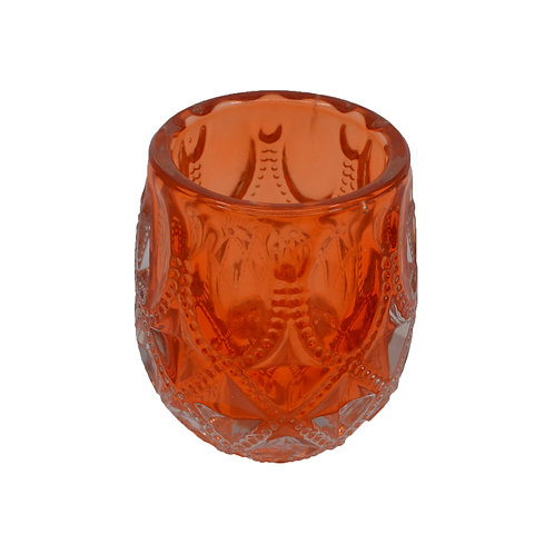 Coloured Glass Candle Votive Coral