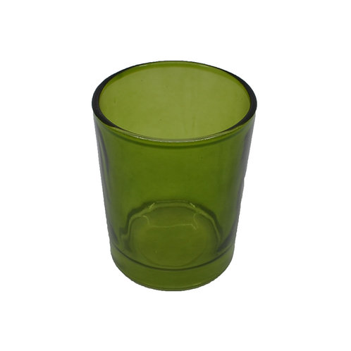 Coloured Glass Candle Votive Clear Moss Green