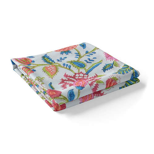 Hand Block Printed Tablecloth - Floral Red *Rectangle