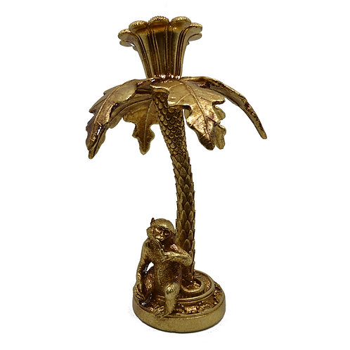 Monkey and Palm Tree Candle Holder Gold