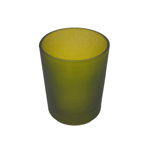 Coloured Glass Candle Votive Frosted Olive Green