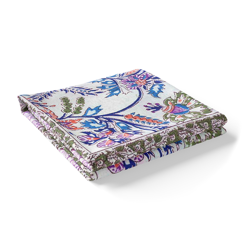 Block Printed Tablecloth 'Misty Pink' *Rectangle