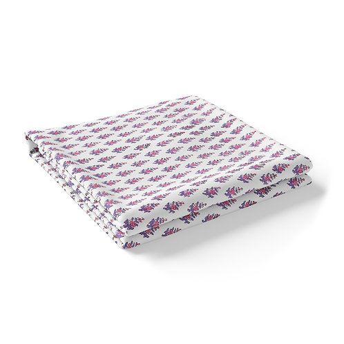 """Hand Block Printed Tablecloth """"Truly Pink""""  *Rectangle"""