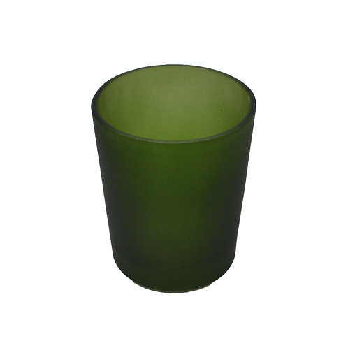 Coloured Glass Candle Votive Frosted Moss Green