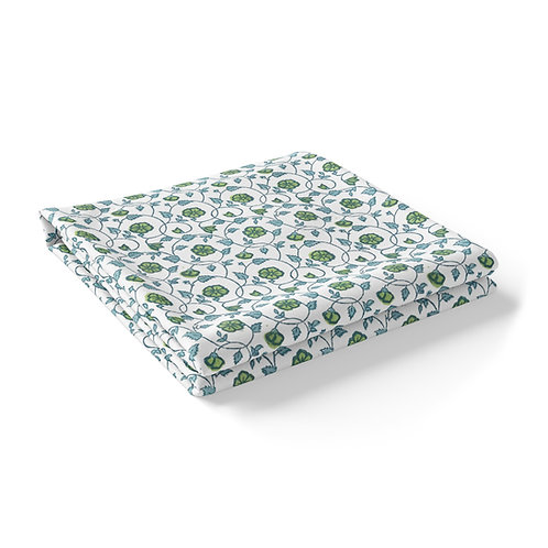 """Block Printed """"Floral Kali Green"""" *Round and *Rectangle"""