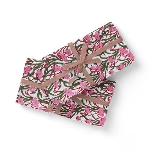 Set of 6 Hand Block Printed - Floral Pink and Green Cloth Napkin