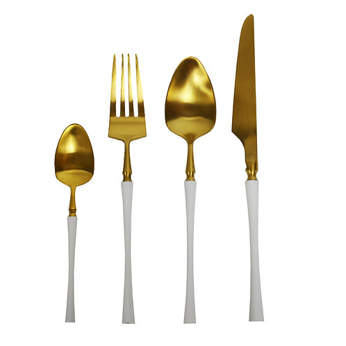 4 Piece Stainless Steel, Gold with white handles.