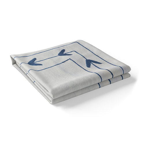 Embroidered Cotton Tablecloth - Blue Embroidery on White Cloth *Rectangle
