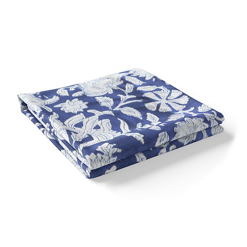 Hand Block Printed - Floral Blue Tablecloth *Rectangle