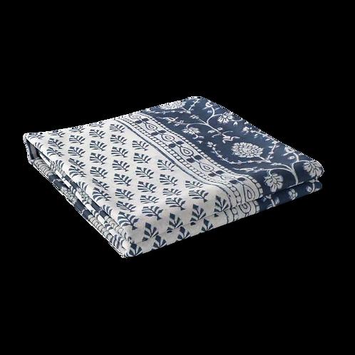 Block Printed Tablecloth 'Neem Majolika Blue' *Rectangle