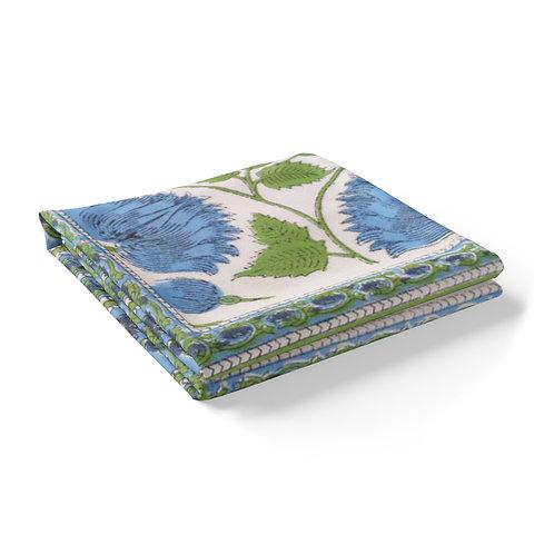 Block Printed Tablecloth 'Kamal Aqua' *Rectangle *Round