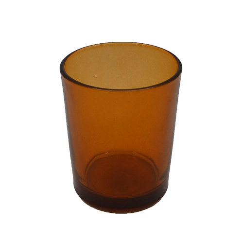 Coloured Glass Candle Votive Clear Amber