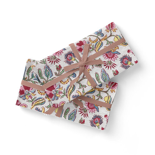 Set of 6 Hand Block Printed - Pretty Multi Floral Cloth Napkin