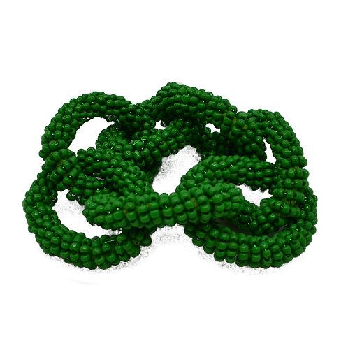 Hand Beaded Chain Napkin Ring in Green