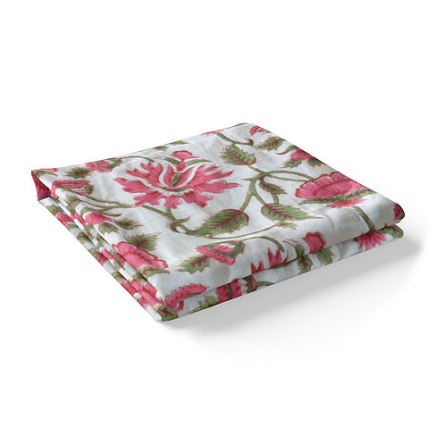 Hand Block Printed - Floral Pink Tablecloth *Rectangle